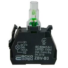 ZBV-B3 Блок для підсвітки зелений 24В для кнопок TB5 Аско Укрем (A0140010210)
