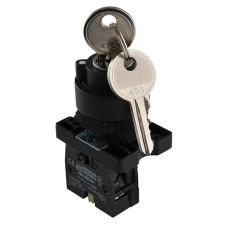 Кнопка LAY5-EG21 поворотна з ключем 2-х поз. Аско Укрем (A0140010201)