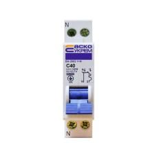 Автоматичний вимикач ВА-2002 40А 1+N АскоУкрем