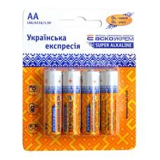 Батарейка лужна АА, LR6 1,5В (блістер 4 шт) АскоУкрем