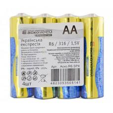 Батарейка сольова АА, R6 1,5В (спайка 4 шт) АскоУкрем