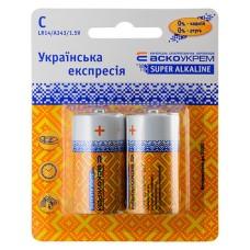 Батарейка лужна C, LR14 1,5В (блістер 2 шт) АскоУкрем