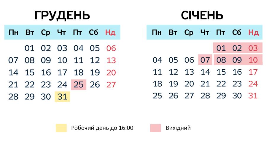 календар робочих днів 2021