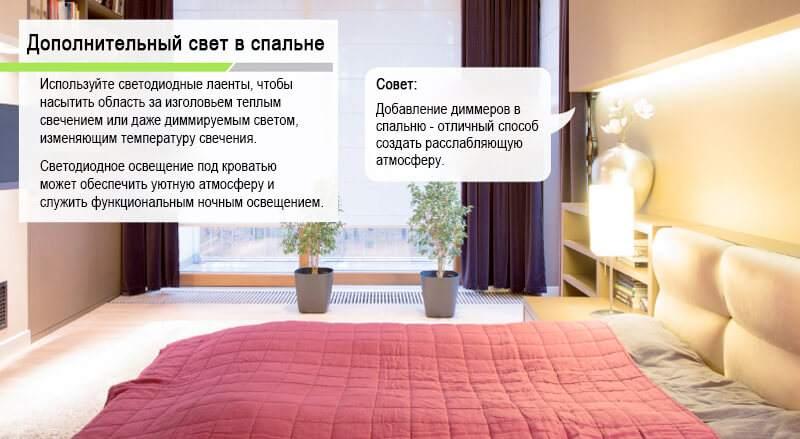 лента светодиодная в спальне