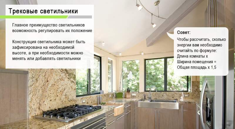 трековые светильники в кухне